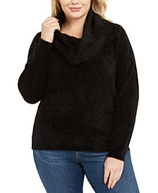 Plus Size Fluffy Cowlneck Sweater