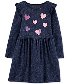 Little & Big Girls Sequin-Hearts Jersey Dress