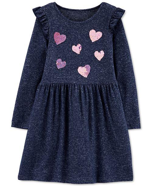Carter's Little & Big Girls Sequin-Hearts Jersey Dress