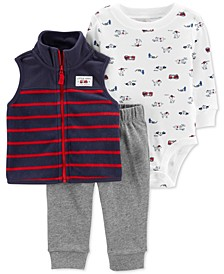 Baby Boys 3-Pc. Striped Vest, Firetruck-Print Bodysuit & Pants Set