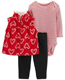 Baby Girls 3-Pc. Candy Cane-Print Vest, Striped Bodysuit & Pants Set