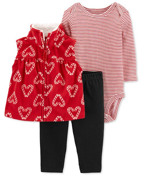 Carter's Baby Girls 3-Pc. Candy Cane-Print Vest, Striped Bodysuit & Pants Set