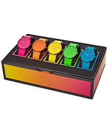 Unisex Aaren Kulor Neon Multicolor Silicone Strap Watch 41mm Box Set