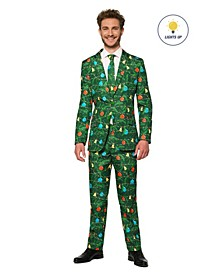 Men's Christmas Green Tree Christmas Light Up Suit