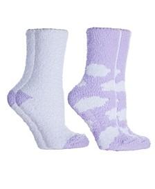 Women's Clouds Lavender Infused Slipper Socks, 2-Pair Pack
