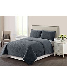 Casual Living Solid Color Trellis Stitch 3 Piece Quilt Set, Queen