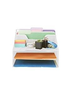 5 Section Desk File Organizer, Document Letter Tray For Folders, Mail, Documents