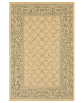CLOSEOUT! Square Rug, Indoor/Outdoor Recife 1016/5016 Garden Lattice Natural-Green 8'6""