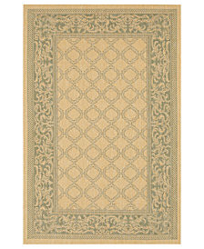 "CLOSEOUT! Couristan Area Rug, Indoor/Outdoor Recife 1016/5016 Garden Lattice Natural-Green 5'3"" x 7'6"""