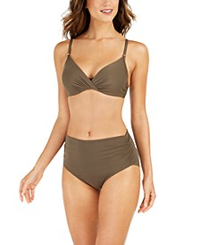 Pleated Underwire Bikini Top & High-Waist Bikini Bottoms