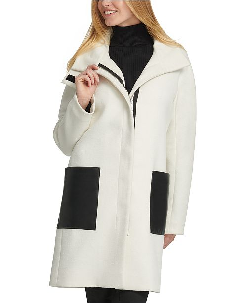 DKNY Stand-Collar Faux-Leather-Pocket Coat