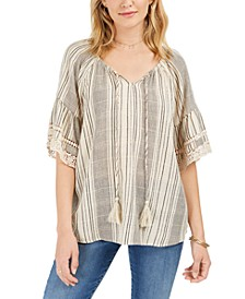 Cotton Striped Tassel Peasant Top, Created For Macy's