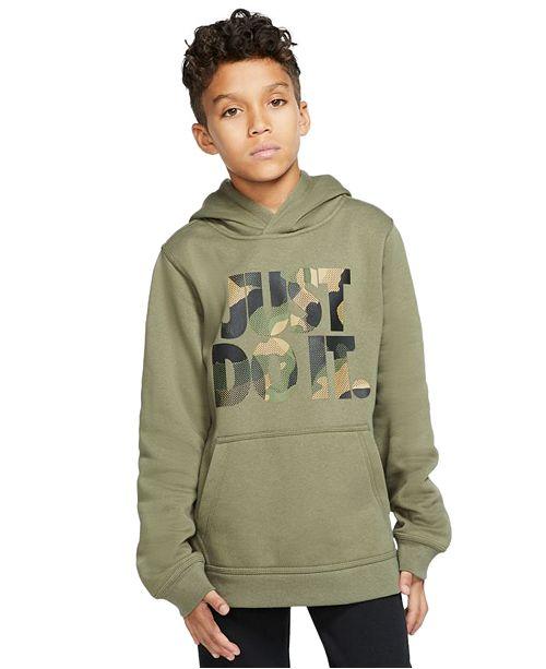 Nike Big Boys Camo-Print Just Do It Hoodie