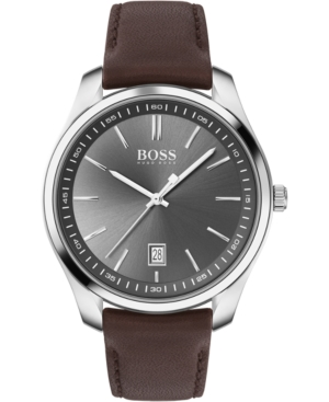 Boss Watches MEN'S BRACELET & CIRCUIT BROWN LEATHER STRAP BOXED WATCH 42MM GIFT SET
