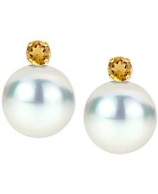 Cultured Freshwater Pearl (8mm) & Birthstone Stud Earrings in 14k Gold