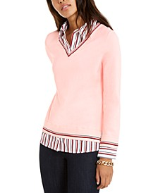 Striped-Trim Sweater, Created For Macy's