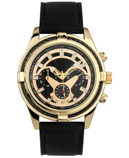 INC International Concepts INC Men's Faux Leather Strap Watch 49mm, Created For Macy's