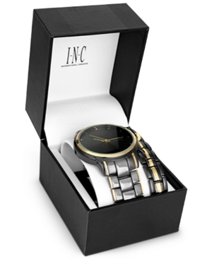 INC INTERNATIONAL CONCEPTS INC MEN'S TWO-TONE BRACELET WATCH 36MM GIFT SET, CREATED FOR MACY'S