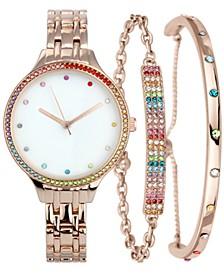 INC Women's Rose Gold-tone Bracelet Watch 26mm Gift Set