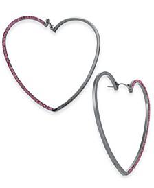 Hematite-Tone Pavé Open Heart Drop Earrings, Created For Macy's