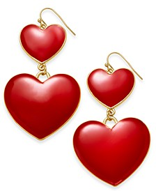 Gold-Tone Puffy Heart Drop Earrings, Created For Macy's