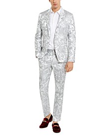 INC Men's Slim-Fit Embroidered Floral Jacquard Suit Separates, Created For Macy's
