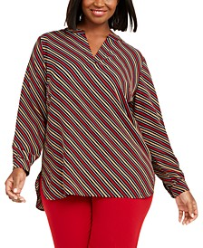 Plus Size Striped Split-Neck Top