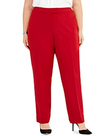 Plus Size Flat-Front Stretch Pants