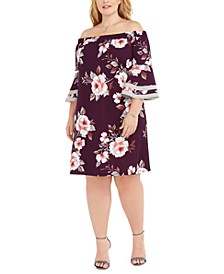 Trendy Plus Size Off-The-Shoulder Floral Dress