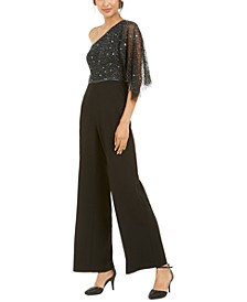 Embellished One-Shoulder Jumpsuit