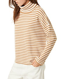 Striped Micro-Rib Roll-Neck Sweater