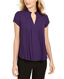 Pleated Ruffle-Neck Top