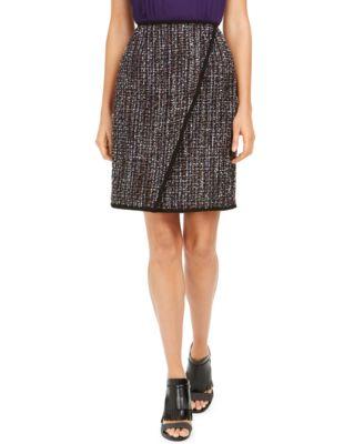 Petite Tweed Front-Overlap Skirt