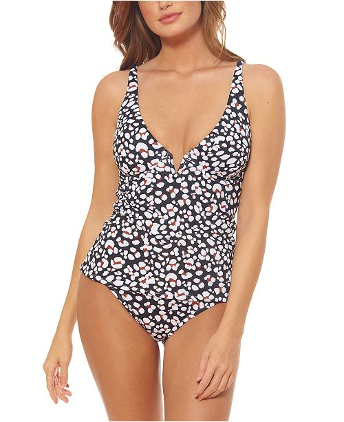 Jessica Simpson Cool Cat Printed V-Wire Tankini Top & Side Shirred Hipster Bottoms