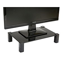 4 Leg Black Glass Monitor Stand Riser for Computer, Laptop, Desk