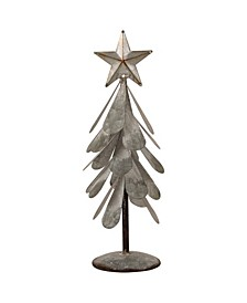 "14.5"" H Galvanized Metal Christmas Table Tree Decor"
