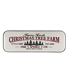 "43.11"" H Farmhouse Enameled Metal Christmas Tree Wall Sign"