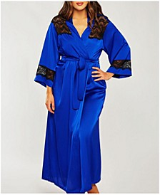 Plus Size Tess Satin Long Robe With Black Lace Trim, Online Only