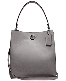 Polished Pebble Leather Charlie Bucket Crossbody