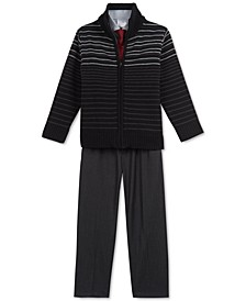 Little Boys 4-Pc. Striped Sweater, Shirt, Tie & Pants Set