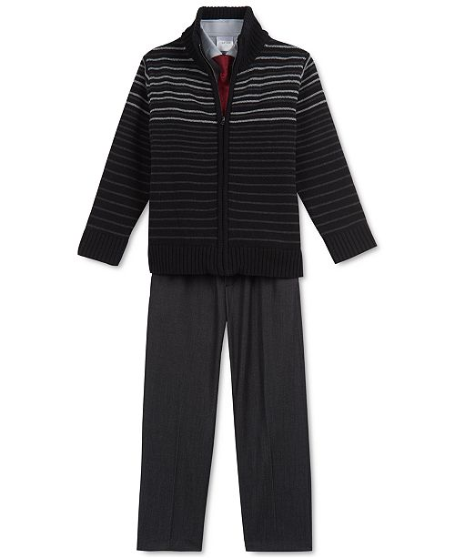 Calvin Klein Little Boys 4-Pc. Striped Sweater, Shirt, Tie & Pants Set