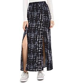 Juniors' Printed Double-Slit Maxi Skirt