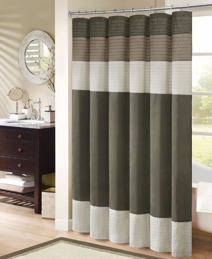 """Madison Park - Amherst Colorblocked 72"""" Square Faux-Silk Shower Curtain"""