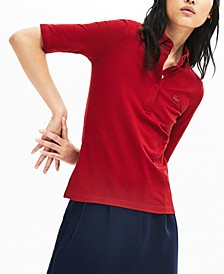 Long Sleeve Slim Fit Stretch Pique Polo Shirt