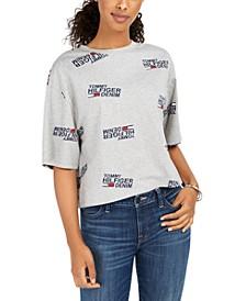 Cotton Logo-Print Cropped T-Shirt