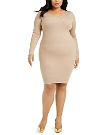 Trendy Plus Size Lace-Up-Back Bodycon Dress