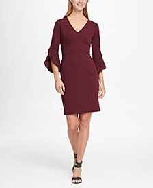 3/4 Tulip Sleep V-Neck Sheath Dress