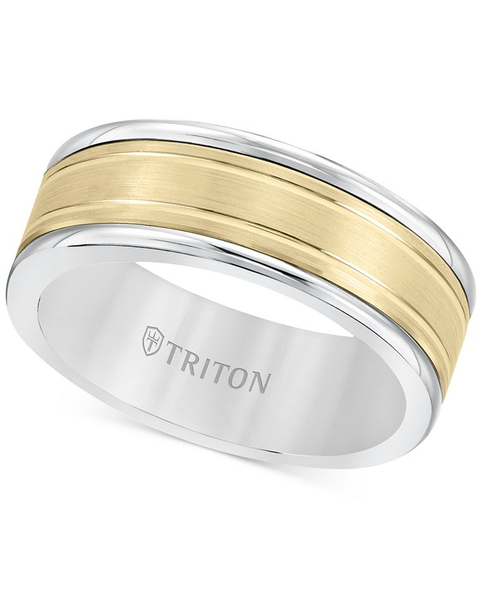 Triton - Men's Two-Tone Inlay Band in White Tungsten Carbide & 14k Gold