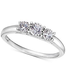 TruMiracle® Diamond Three Stone Engagement Ring (1/4 ct. t.w.) in 14k White Gold