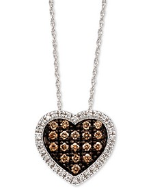 "Chocolatier® Diamond Heart 18"" Pendant Necklace (1/3 ct. t.w.) in 14k White Gold"